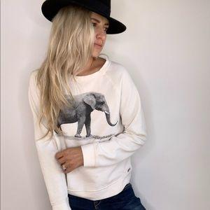 Elephant Cream / Ivory & Grey Sweatshirt Medium